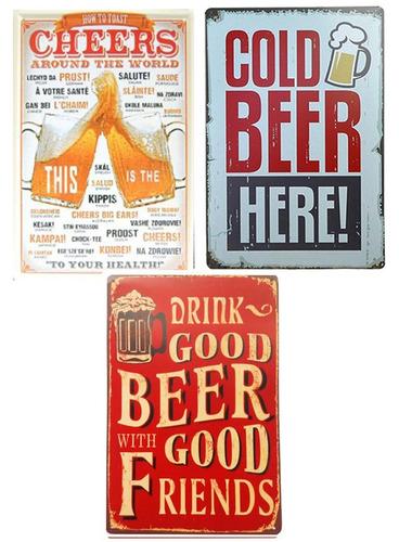 3 placas decorativas quadro metal vintage cerveja beer 05