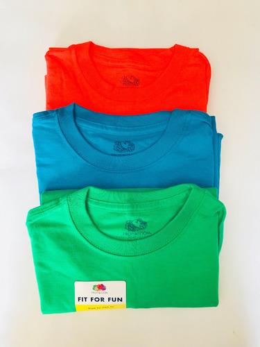 3 playeras de diferentes colores marca fruit of the loom