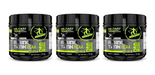 3 potes aminoácido bcaa military trail 300g - oferta especial