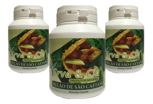 3 potes de melão de são caetano capsulas natural de 500 mg