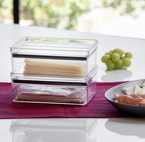 3 potes porta frios hermético transparente paramount 770ml