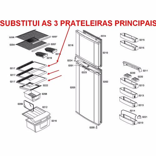 3 prateleira grade aço refrigerador bosch kdn42 kdn46 ksu