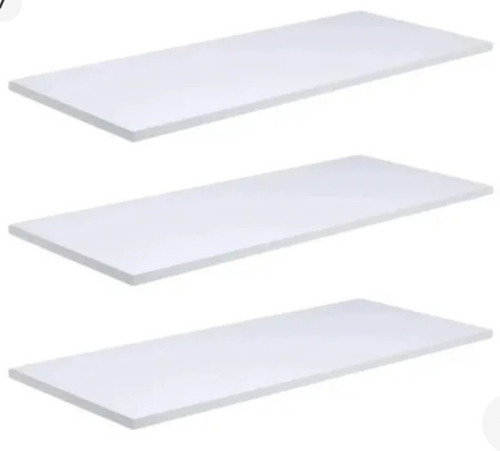3 prateleiras lisas 30x15 cm em mdf branca