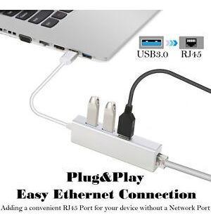 3 puertos usb 3.0 gigabit ethernet lan hub adaptador de red