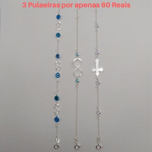 3 pulseiras femininas com infinitos e olho grego em prata
