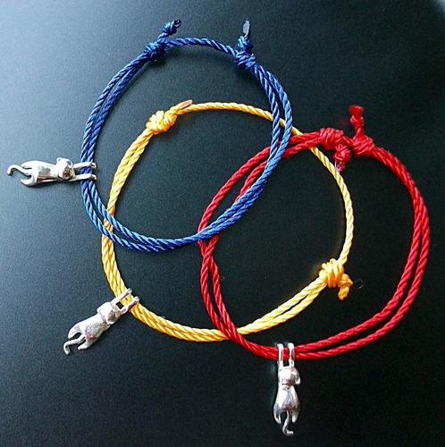 3 pulsera con gato estirado mini plata ley solida .925