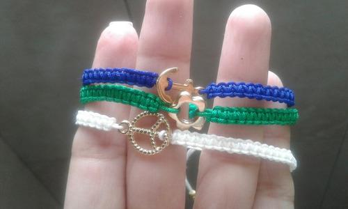 3 pulseras, hilo chino, dijes, bisuteria, de moda