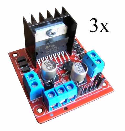 3 pzs driver l298n puente h pwm dual control motor cd