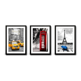 3 Quadros New York London Paris A3 Decoração Sala Capitais