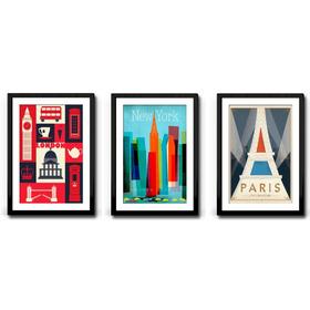 3 Quadros Nova York Paris Londres Decoração Sala Paspatur-a3