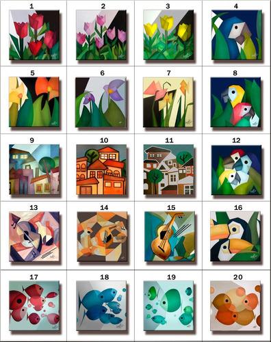 3 quadros painéis gravura tela pintura cubismo peixes 30x30