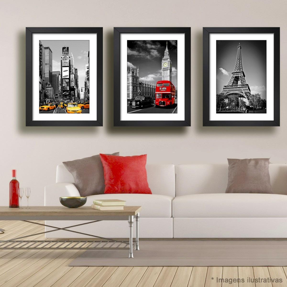 Adesivo Deficiente Fisico ~ 3 Quadros Paris Nova York Londres Europa Decorativo Sala Tv R$ 295,00 em Mercado Livre