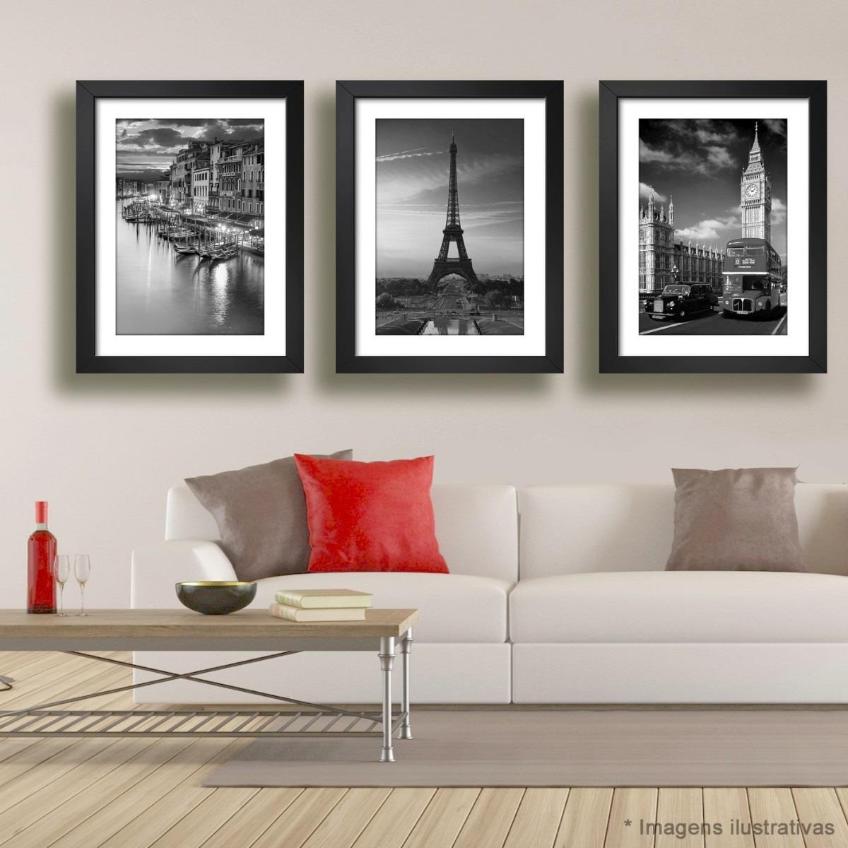 3 Quadros Veneza Paris Londres Preto Branco Decoracao Sala R 335