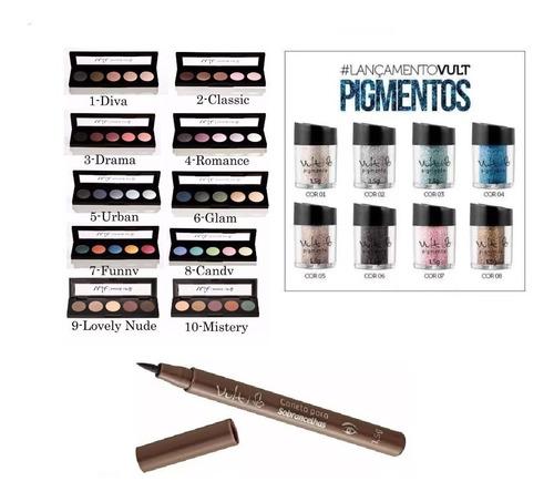 3 quintetos + 2 pigmentos + 1 caneta sobrancelha vult