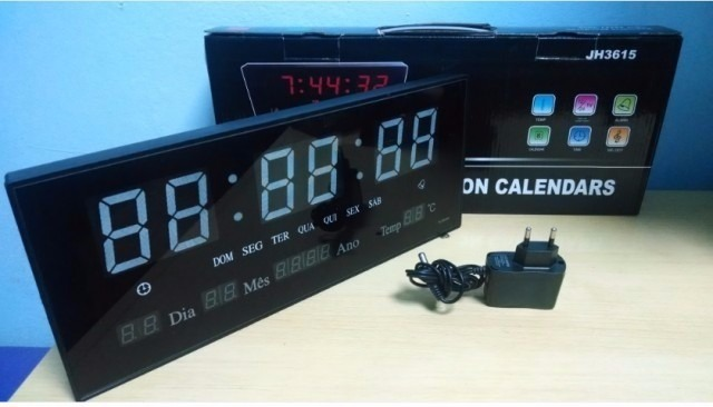 aea1637d5f6 3 Relógio Led Digital Gigante Painel Data Temperatura - R  409