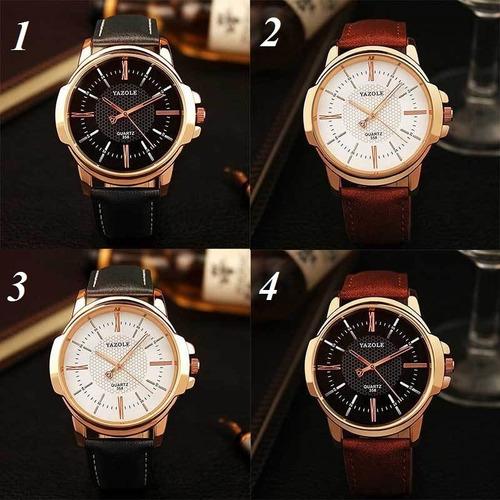 3 relógio masculino barato para revenda yazole couro quartzo
