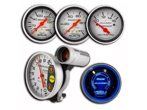 3 relojes + tacometro + medidor aire combustible orlan rober