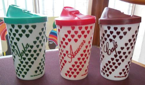 3 retro vasos plastico pico vertedor yerba azucar cafe -