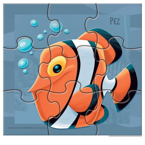 3 rompecabezas animales marino 6 9 y 12 piezas dif creciente