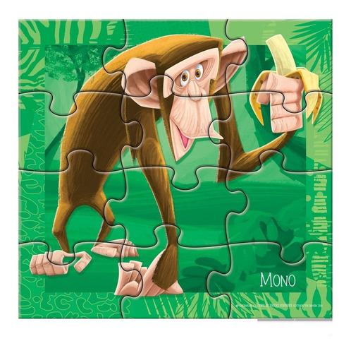 3 rompecabezas animales selva 6 9 y 12 piezas dif. creciente
