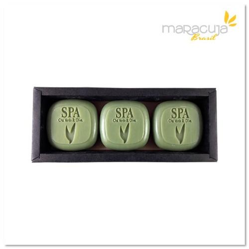 3 sabonetes spa refrescante com argila verde 100gramas