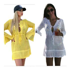 0dfcab3454da Vestido Saida Praia Croche Manga - Moda Praia com o Melhores Preços ...