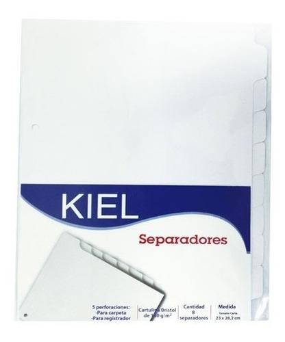 (3 sets) separadores materias 8 div  blanco cartulina 200gr