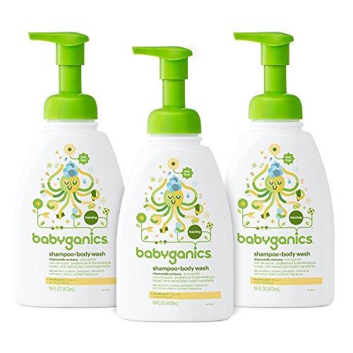 3 shampoo y jabón corporal babyganics antialérgico 16 oz.