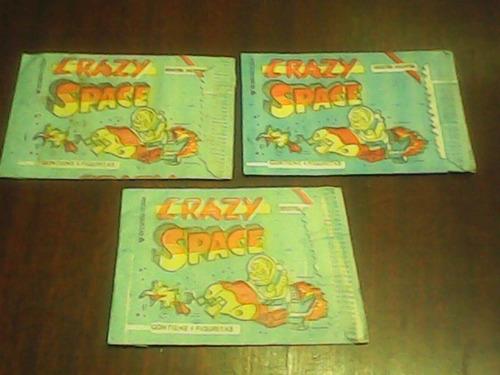 3 sobres figuritas crazy space llenos