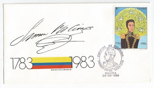 3 sobres primer dia estampillas simon bolivar1983