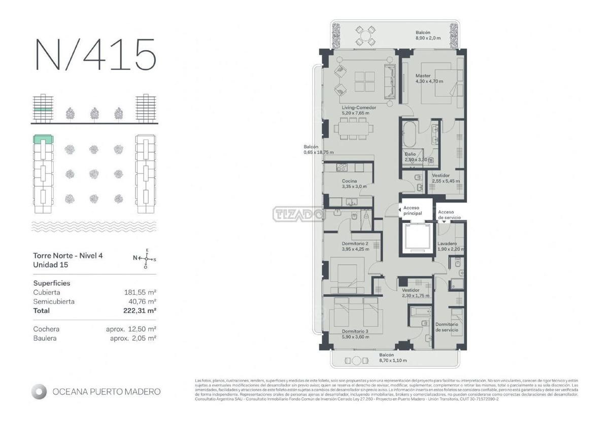 3 suites mas dependencia 222 m2 en oeana puerto madero.