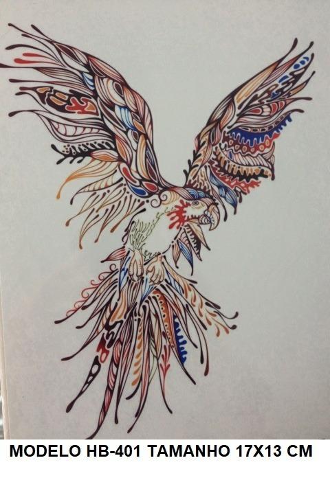 3 tatuagem temporaria aguia falcão pássaro brinde r 43 00