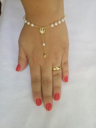 3 terços pulseiras folheadas a ouro com pérolas