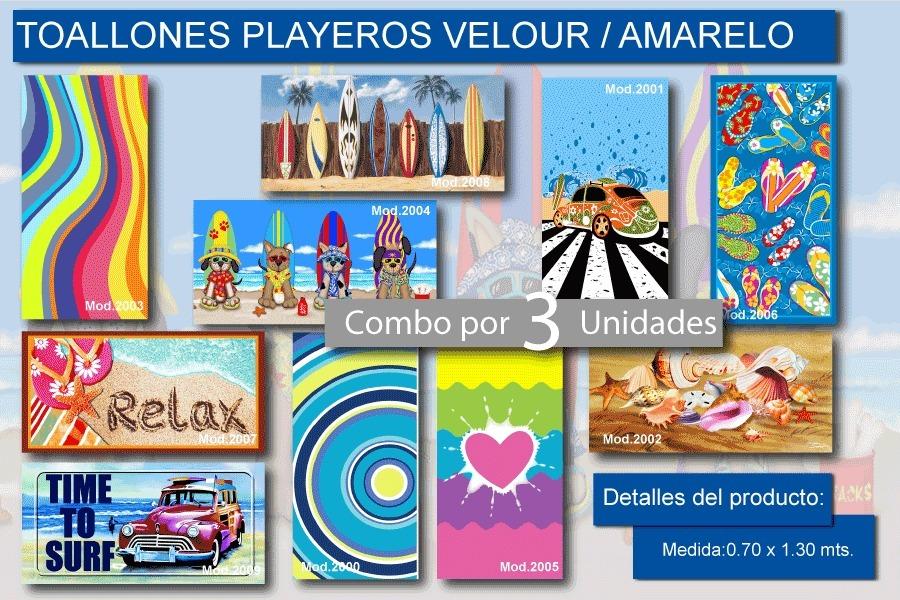 309fb32c8 3 Toallones Playeros Grandes Velour Amarelo Juveniles Verano