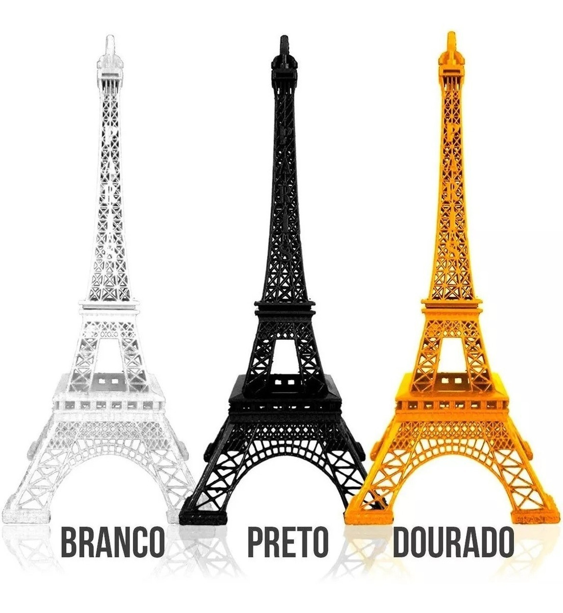 3 Torre Eiffel Paris Decorativa Metal 18 Cm Colorida 6 Cores R