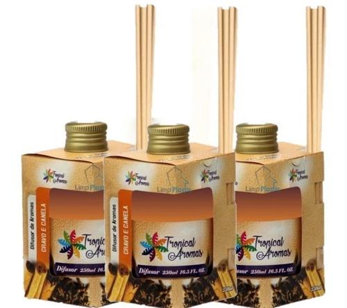 3 unid difusor de aromas 250ml cravo e canela tropical aroma