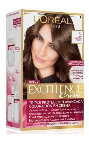 3 unid tintura excellence creme loreal color 5 castaño claro