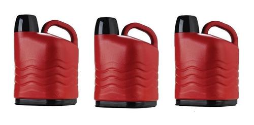 3 unidades de garrafa térmica 5 litros vermelha- invicta