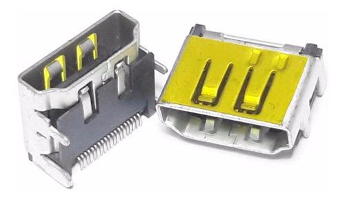3 unids conector hdmi fêmea amarelo quatro fixadores pci smd