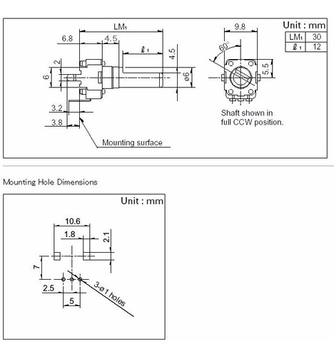 3 unids potenciômetro rotativo 9mm x eixo 25mm 5ka a502 a5k