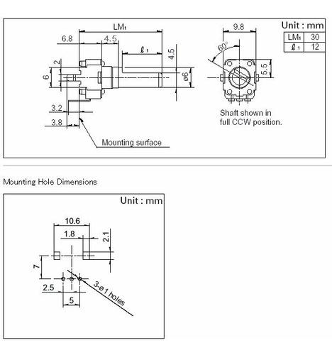 3 unids potenciômetro rotativo 9mm x eixo 25mm 5kb b502 b5k