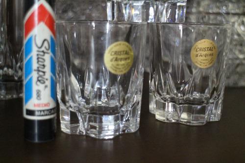 3 vasos whisky licor marca francesa francia cristal d´arques