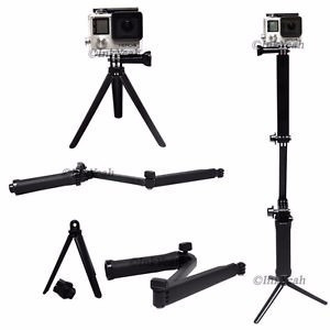 3 way monopod para go pro sjcam action camera tripie selife