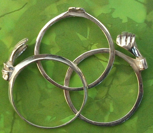 3 x 1 anillo desmontable amor corazon promesa claddagh plata