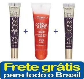 3 x gloss labial loreal - frete grátis para todo brasil