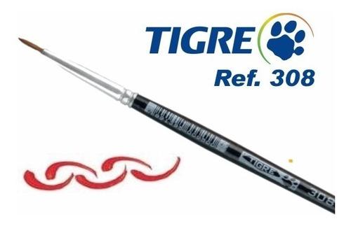 3 x pincel tigre 308 pelo de marta redondo t0