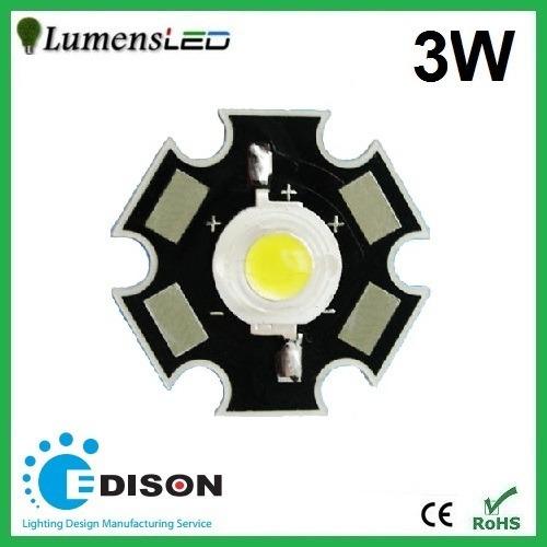 3 x super power led star 3w - branco frio edison