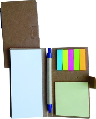 30 bloco de anotações ecológico + caneta agenda