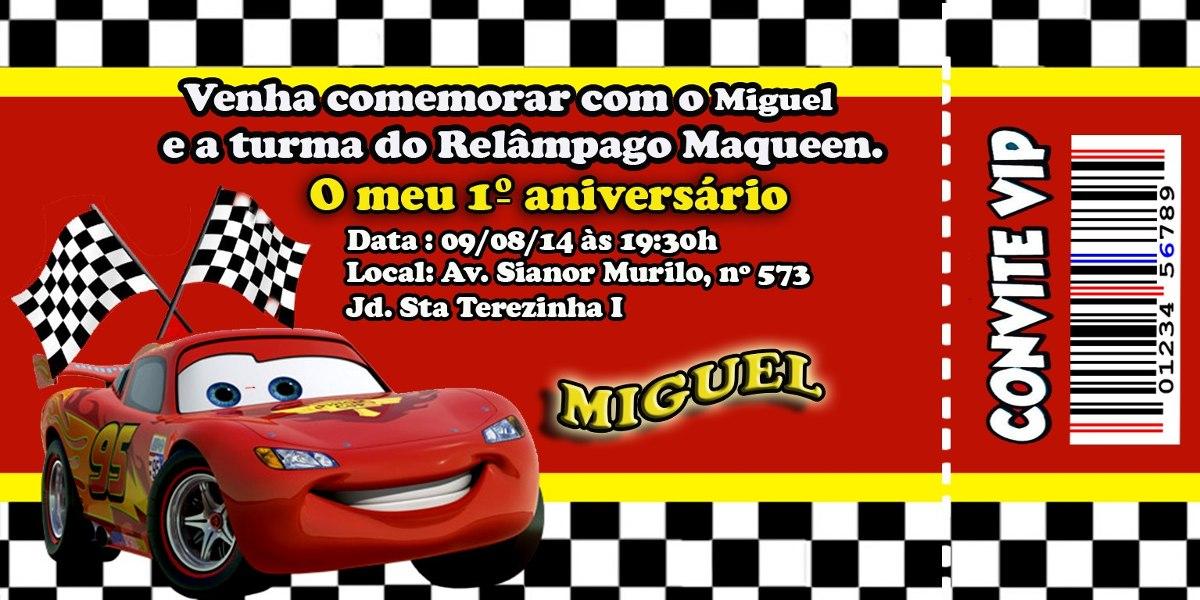 30 Convite Carros Dos Desenhos Animados Disney R 23 00 Em