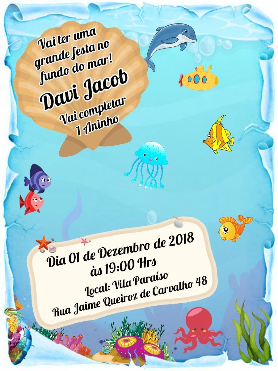 30 Convite Pergaminho Fundo Do Mar R 3600 Em Mercado Livre